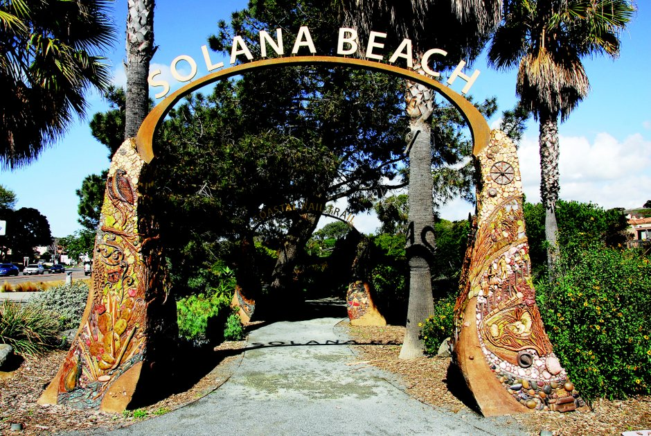 Two arches by Del Mar artist Betsy Schulz at the southern end of the Solana Beach Coastal Rail Trail depict the city's history. Priscilla Lister